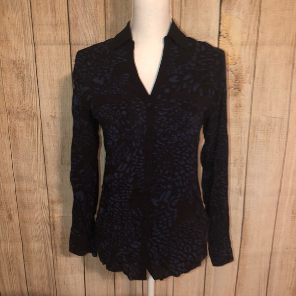 Express Tops - Express Collared Button Down Blouse Leopard Small